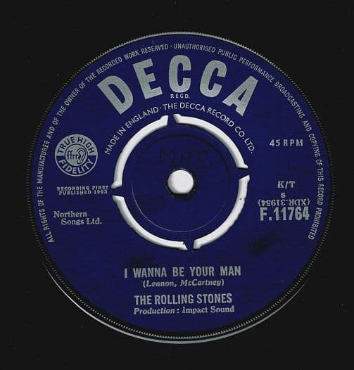 THE ROLLING STONES I Wanna Be Your Man Vinyl Record 7 Inch Decca 1963