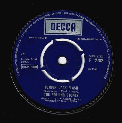 THE ROLLING STONES Jumpin' Jack Flash Vinyl Record 7 Inch Decca 1968