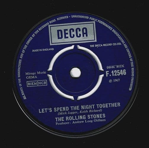 THE ROLLING STONES Let's Spend The Night Together Vinyl Record 7 Inch Decca 1967