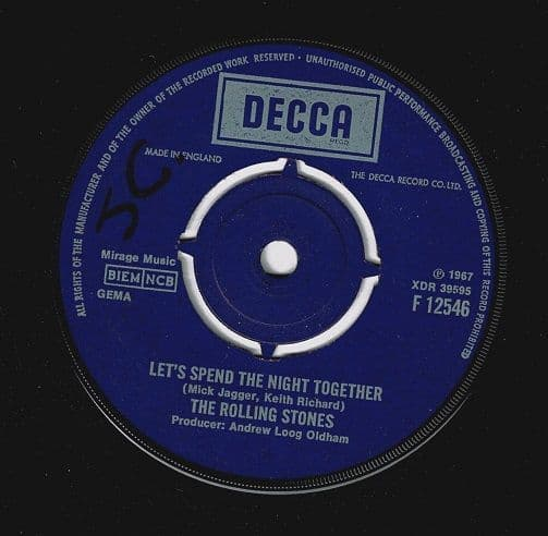 THE ROLLING STONES Let's Spend The Night Together Vinyl Record 7 Inch Decca 1967.