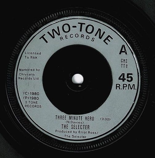 THE SELECTER Three Minute Hero Vinyl Record 7 Inch 2 Tone 1980