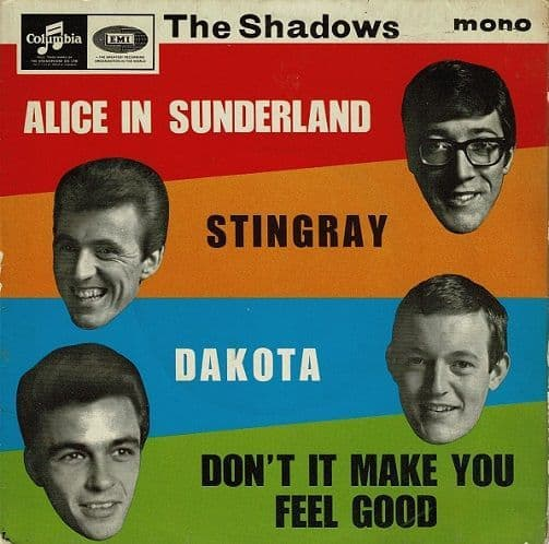 THE SHADOWS Alice In Sunderland EP Vinyl Record 7 Inch Columbia 1965