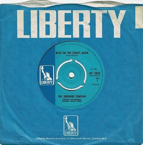 THE SUNSHINE COMPANY Back On The Street Again Vinyl Record 7 Inch Liberty 1967