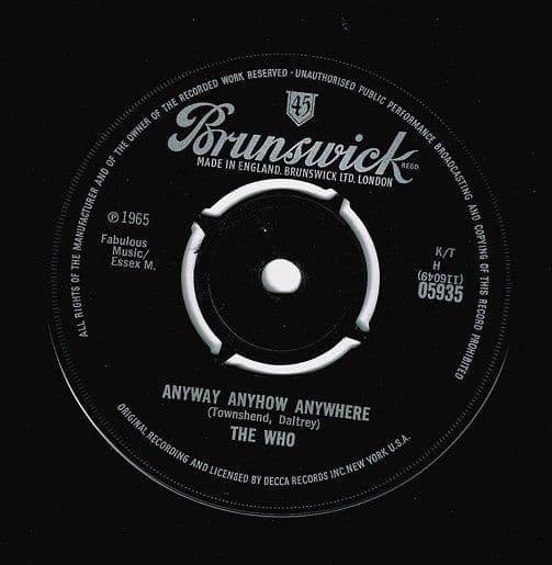 THE WHO Anyway, Anyhow, Anywhere Vinyl Record 7 Inch Brunswick 1965