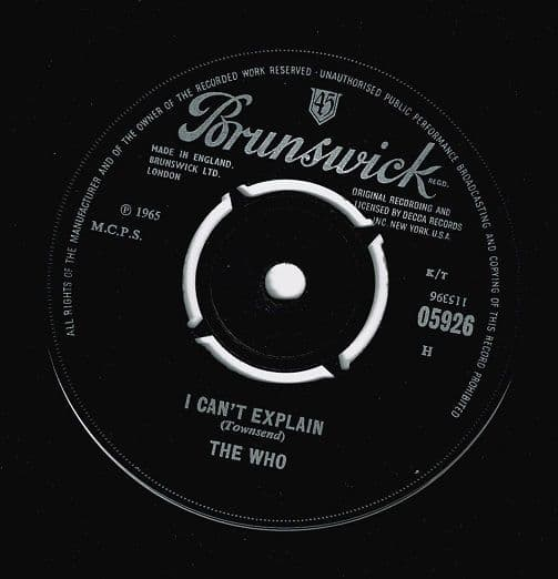 THE WHO I Can't Explain Vinyl Record 7 Inch Brunswick 1965
