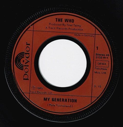 THE WHO My Generation Vinyl Record 7 Inch German Polydor 1977