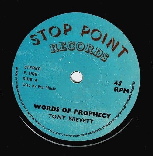 TONY BREVETT Words Of Prophecy Vinyl Record 7 Inch Stop Point 1976