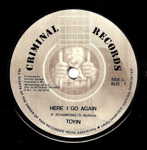 TOYIN Here I Go Again Vinyl Record 7 Inch Criminal 1986