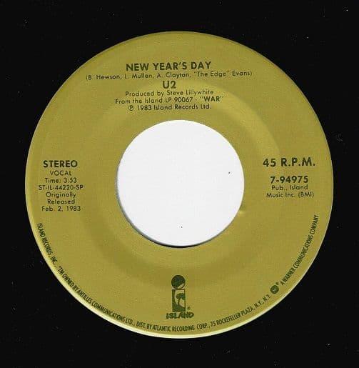 U2 New Year's Day Vinyl Record 7 Inch US Island 1985