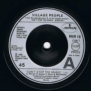 """VILLAGE PEOPLE Can't Stop The Music 7"""" Single Vinyl Record 45rpm French Mercury 1980"""