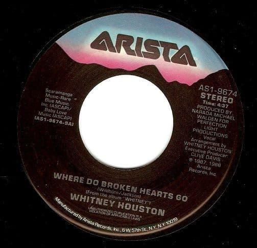WHITNEY HOUSTON Where Do Broken Hearts Go Vinyl Record 7 Inch US Arista 1988