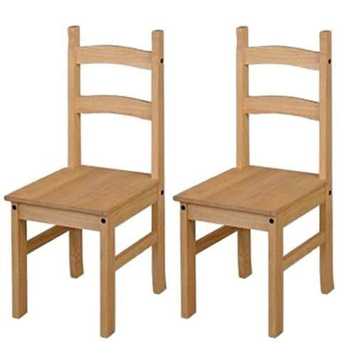 Pair Of Premium Corona Solid Pine Dining Chairs