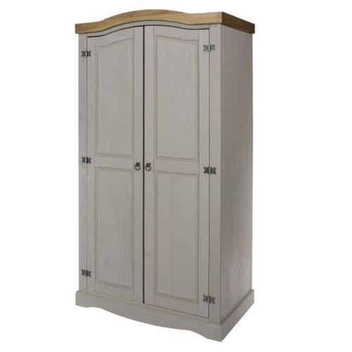 Premium Corona Grey Wash 2 Door Wardrobe