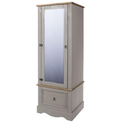 Premium Corona Grey Wash Armoire With Mirrored Door
