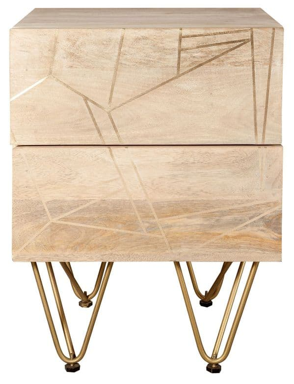 Brecon Light Mango Wood 2 Drawer Side Table | Two drawer side table with metal legs and inlays.