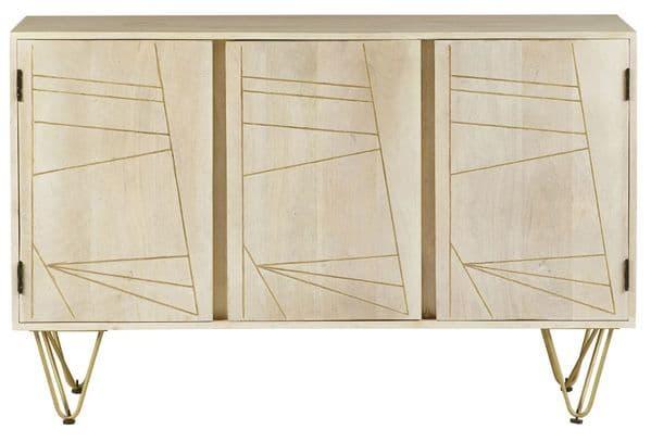 Brecon Light Mango Wood 3 Door Sideboard   Solid three door sideboard with internal shelf, decorative metal inlays and hairpin legs.