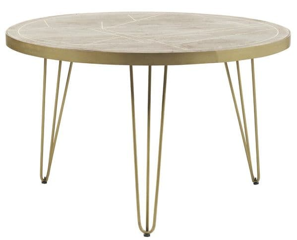 Brecon Light Round or Rectangular Dining Tables with Metal Inlaid Tops and Hairpin Legs