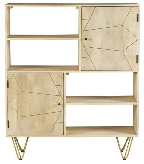 Brecon Light Mango Wood Display Unit | Solid mango display unit with 2 metal inlaid cupboards, four shelves and hairpin legs.