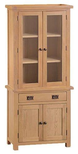 Cornish Oak 2 Door Glazed Dresser