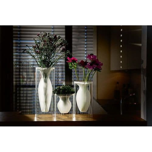 Esmeralda Vases Made From Clear and Frosted Glass