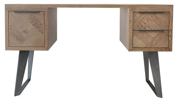 Iberia Aged Grey Oak Desk with Parquet Inlays Two Drawers and Cupboard.