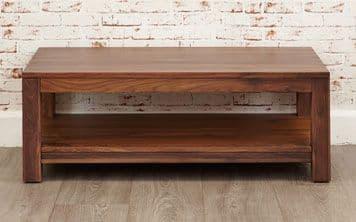 Mayan Walnut Coffee Table with Shelf