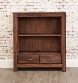 Mayan Walnut Low Two Drawer Bookcase