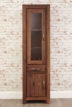 Mayan Walnut Narrow Half Glazed Display Cabinet