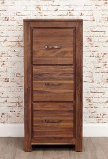 Mayan Walnut Three Drawer Filing Cabinet