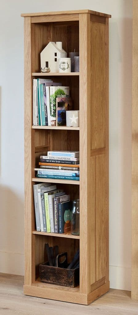 Mobel Oak Tall Narrow Bookcase made from Solid Oak and with 4 Fixed Shelves