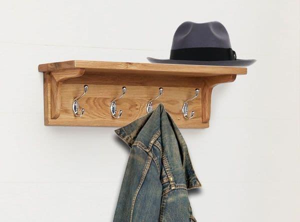Mobel Oak Wall Mounted Coat Rack   Wood Coat Rack With 4 Hooks