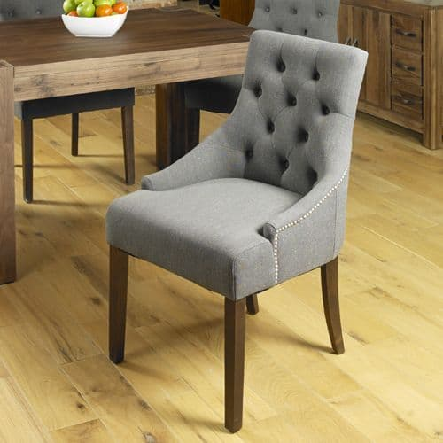 Pair of Accent Upholstered Dining Chairs with Walnut Legs