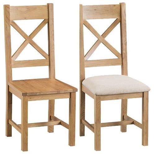 Pair of Cornish Oak Cross Back Dining Chairs
