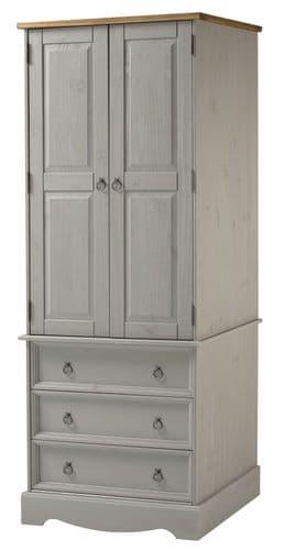 Premium Corona Grey Wash 2 Door | 3 Drawer Combination Wardrobe