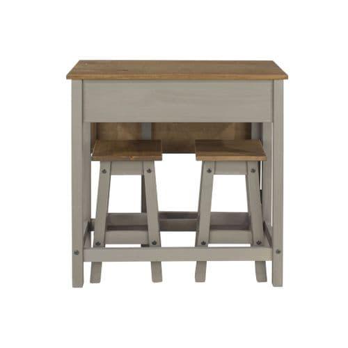 Premium Corona Grey Wash Breakfast Table & Stools