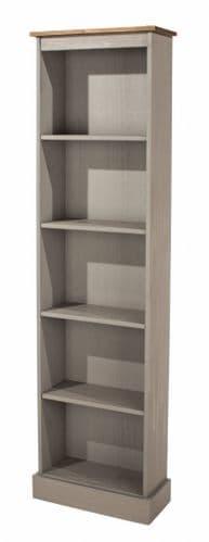 Premium Corona Grey Wash Tall Narrow Bookcase
