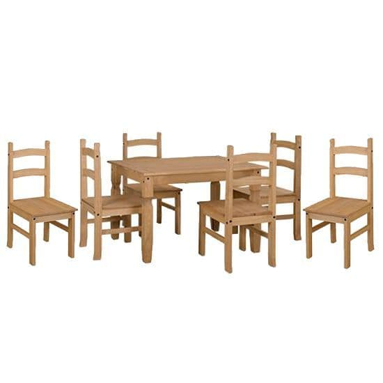 Corona Pine Dining Set | Solid Pine Table and Chairs | Mexican Pine Dining Table and Chair Set