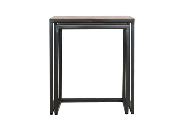 Sierra Oak Nests of Tables   Useful stacking occasional tables with oak tops and metal frame legs.