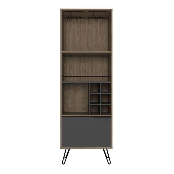 Vegas Bleached Oak and Matt Grey Melamine Tall Bar Cabinet