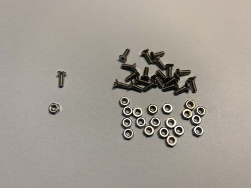 M2-6mm S/Steel countersunk hex bolts & nuts - pack of 20