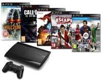 Sony PlayStation 3 PS3 Super Slim 500GB HDD (good  Grade Condition) + 5 Games Bundle
