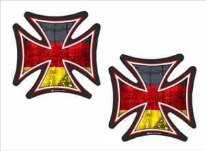 2 Pcs IRON CROSS With Germany German Flag Motif External Vinyl Car Biker Helmet Sticker Each 60x60mm