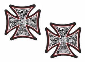 2 Pcs IRON CROSS With JDM Black & White Stickerbomb Motif External Vinyl Car Bike Helmet Sticker Each 60x60mm