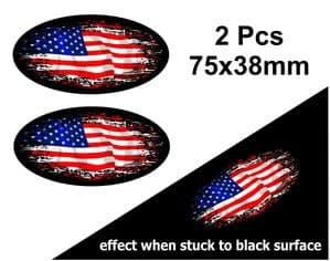 2pcs Fade To Black OVAL Design & American Stars & Stripes US Flag Vinyl Car sticker decal 75x38mm