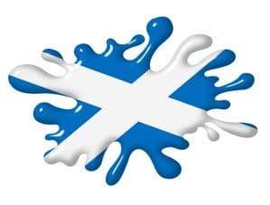 3D Shaded Effect SPLAT Design With Scotland Scottish Saltire Flag Motif External Vinyl Car Sticker 100x150mm