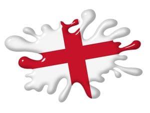3D Shaded Effect SPLAT Design With St Georges Cross England Flag Motif External Vinyl Car Sticker 100x150mm