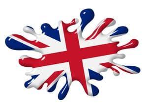 3D Shaded Effect SPLAT Design With Union Jack British Flag Motif External Vinyl Car Sticker 100x150mm