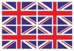 4 Pcs of Union Jack British UK Flag Motif Vinyl Car Bike Sticker Decals each 90x60mm
