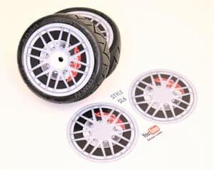 4pcs Realistic Alloy Wheel design stickers to fit Revlite etc 1/10 RC Model Touring car rims SL6