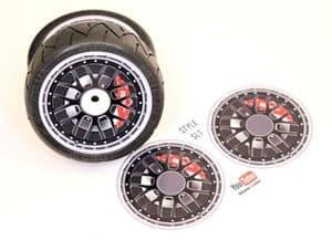 4pcs Realistic Alloy Wheel design stickers to fit Revlite etc 1/10 RC Model Touring car rims SL1
